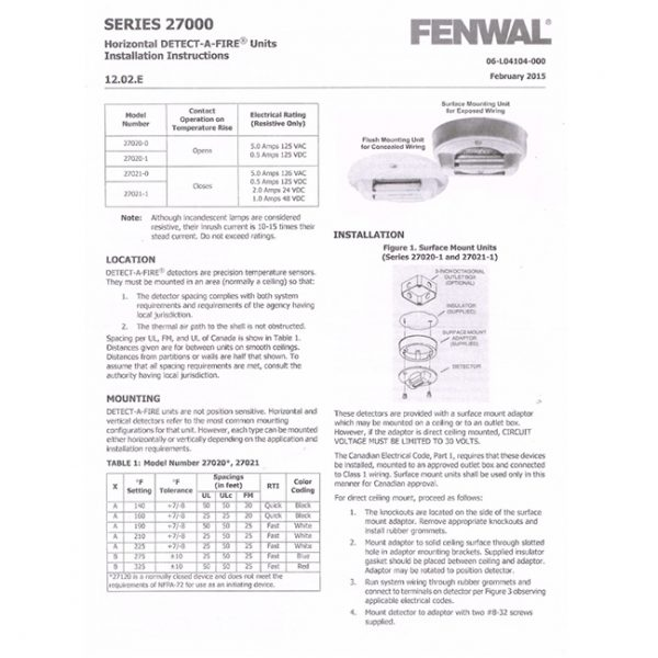 Fenwal Series 27000